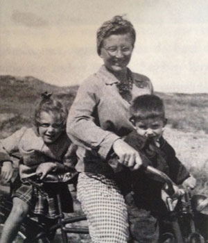 My mom (age 6), grandmother, and uncle (other uncle in utero)--in the Netherlands