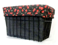 Bicycle Basket Liner Bags in Red Cherries