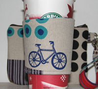 Wristlet and Matching Reversible Coffee Cup Sleeve