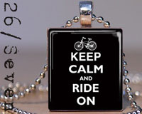 Keep Calm and Ride On Scrabble Tile Pendant with Necklace in Black