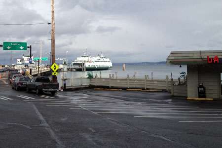 View of the Vashon Ferry Terminal from above