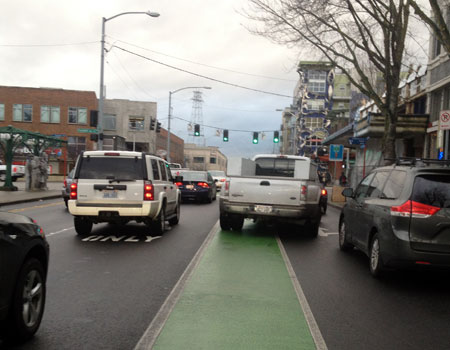 Blocked bike lane in Fremont