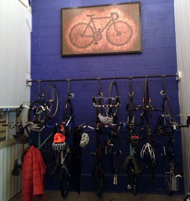 Vertical bike rack at Peddler Brewing Co