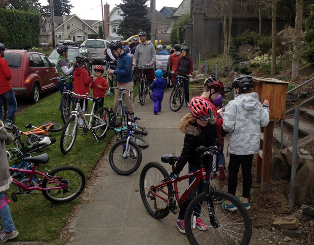 Kidical Mass at a Little Free Library