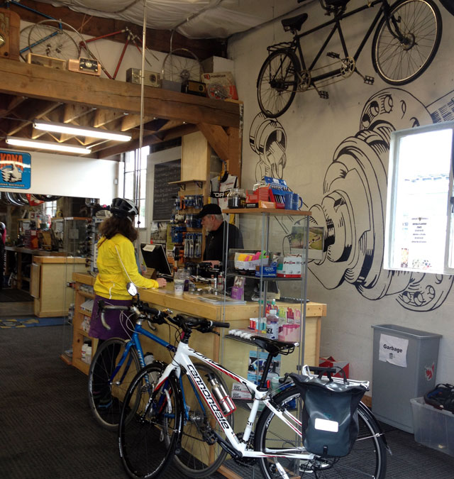 At Recycled Cycles with Astrid