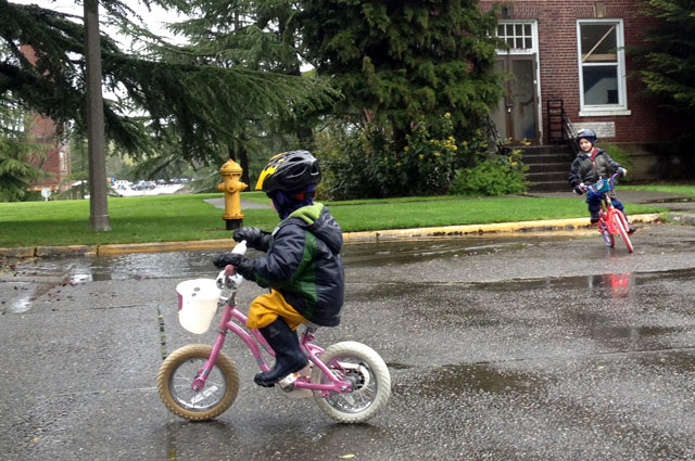 Pedaling! And puddles.