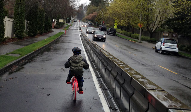 Kid on the cycle track