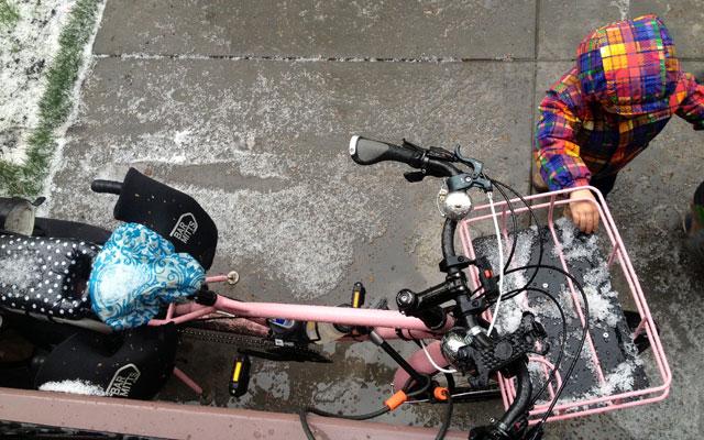 Hail-covered bike