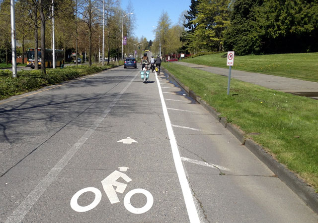 Bike lane on College Way