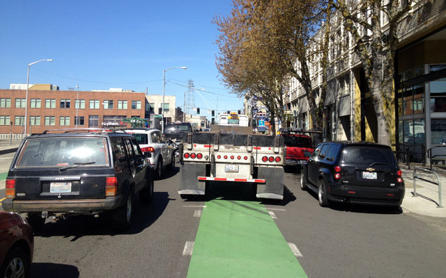 Surprise, surprise: truck in the bike lane
