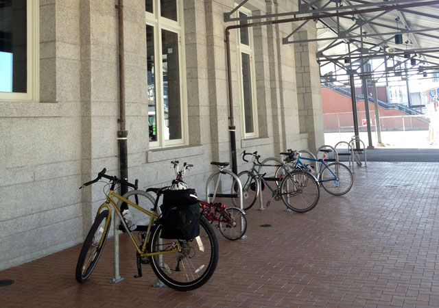 Train station bike racks