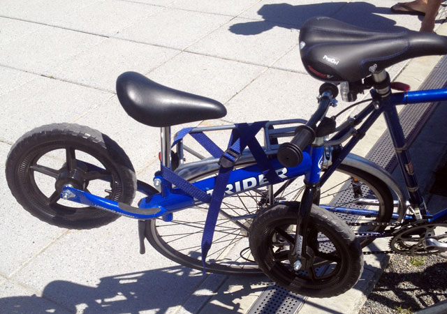 Balance bike on regular bike's rear rack