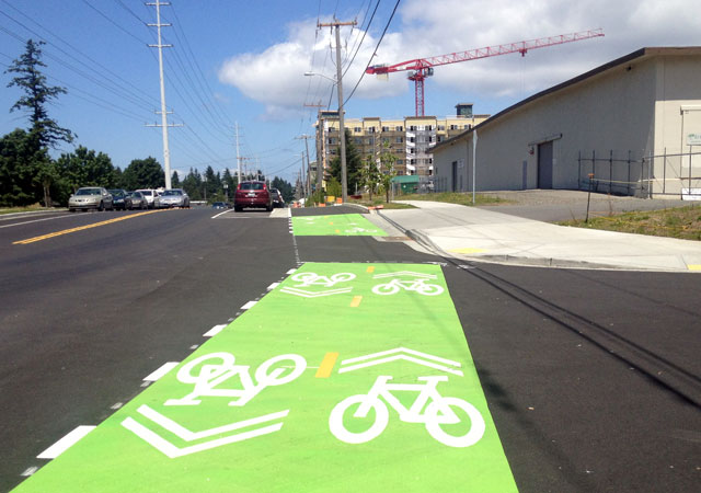 Green paint on the cycle track