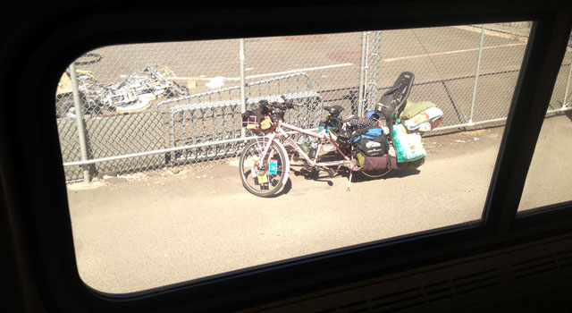 Cargo bike *near* train