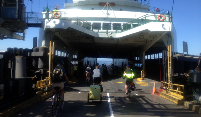 Riding onto the ferry
