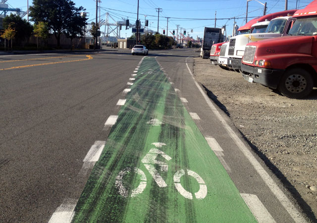 New bike lane on East Marginal Way