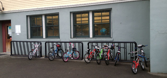 Elementary school bike rack