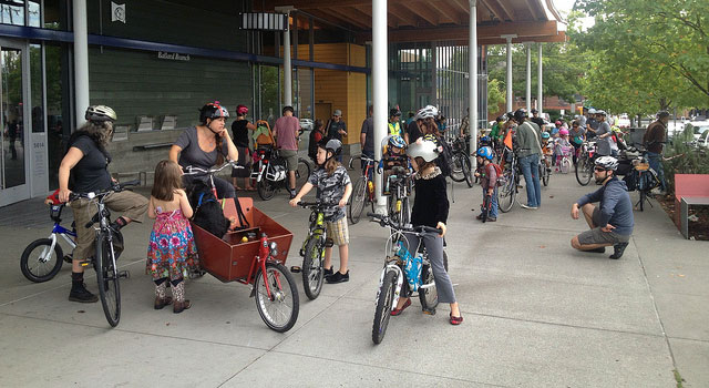 Kidical Mass massing up at Ballard Library