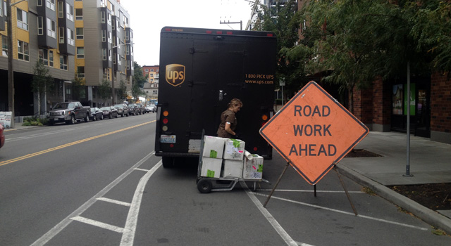 Delivery truck in the Dexter bike lane