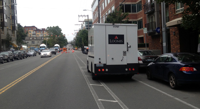 Another delivery truck in the Dexter bike lane