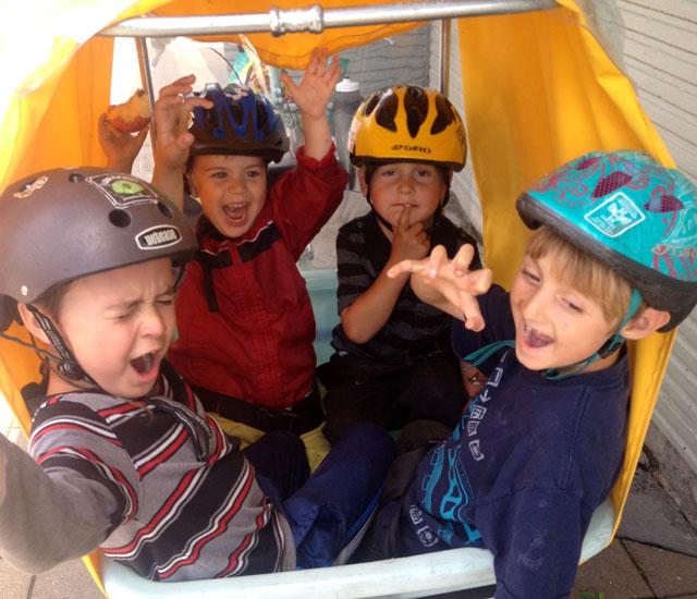 Five (including me) on a bike