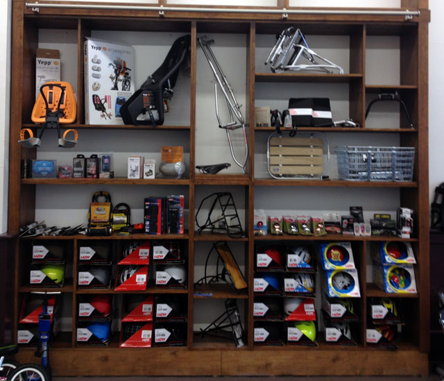 G & O Family Cyclery wall of treasures