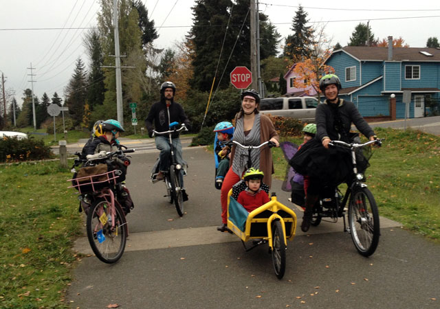 Bike parade on the Interurban Trail