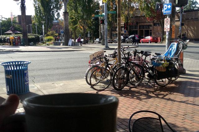 Our bikes from inside Ballard Coffee Works