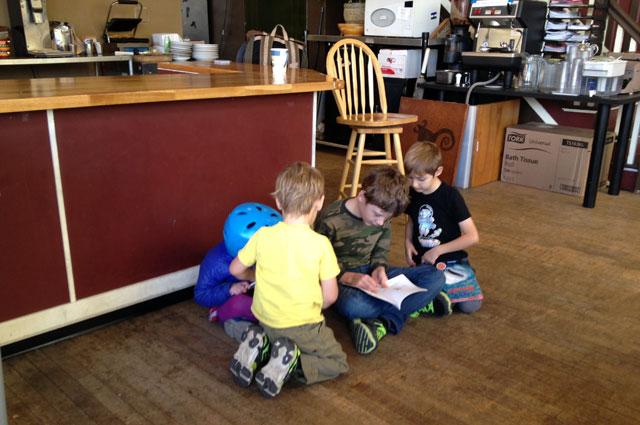 Quiet kids at Black Coffee Co-op