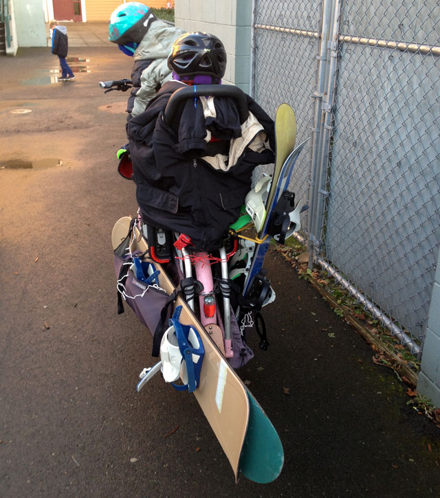 Snowboards loaded two to a side