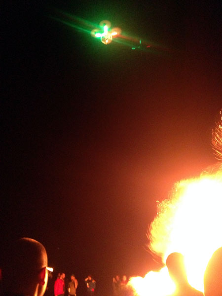 One of two drones at the bonfire