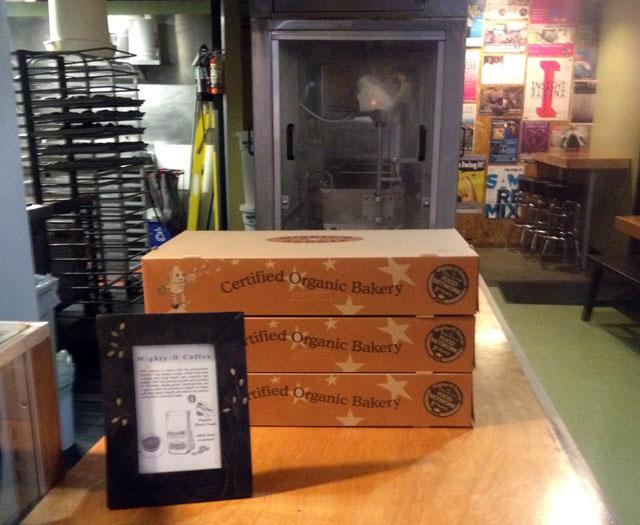 Boxes of doughnut ready to go