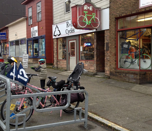 My bike with flags, Seahawks Rodriguez in background