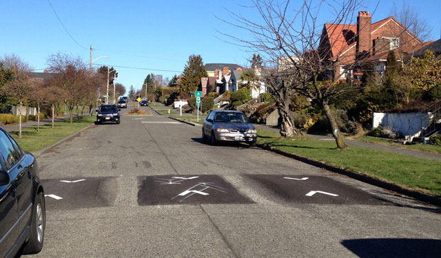 Three-part speed hump on the Beacon Hill Greenway