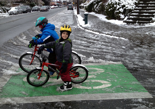Kids riding in the slush