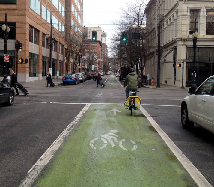 Oak Street's wide bike lane