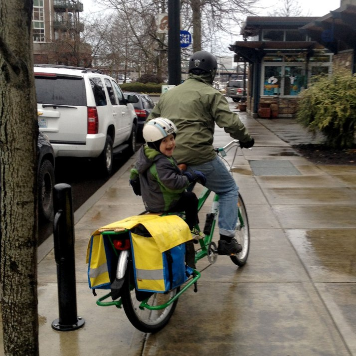 Father and son on cargo bike!