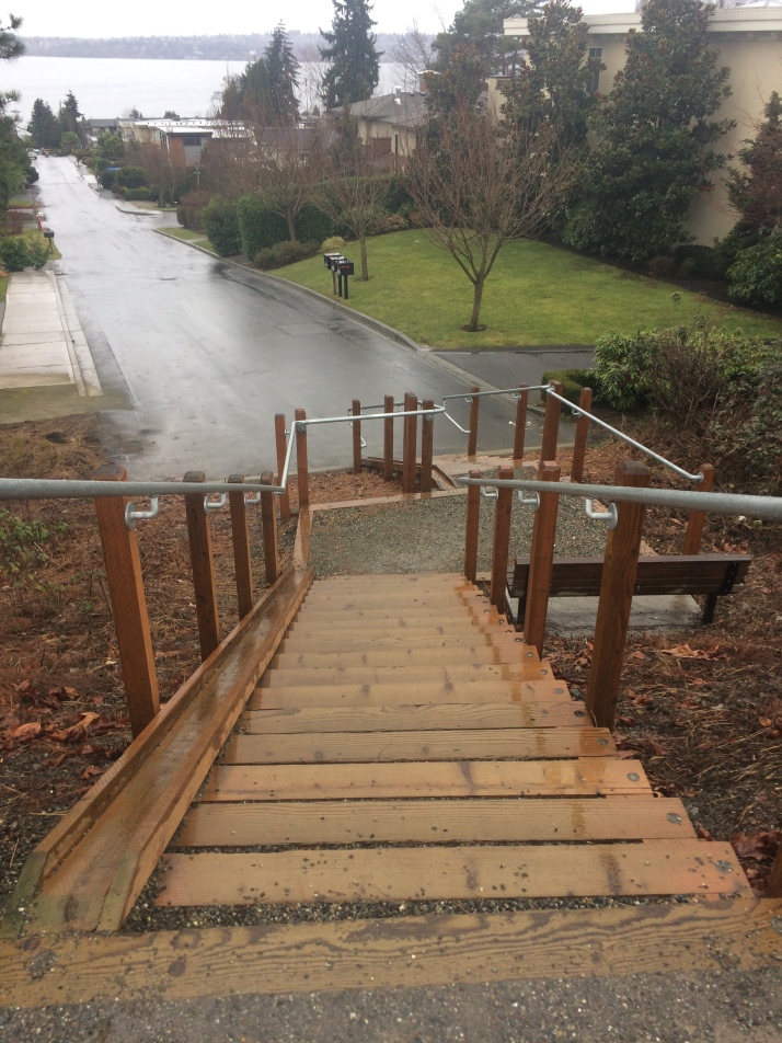 Stairs with runnel to the Cross Kirkland Corridor