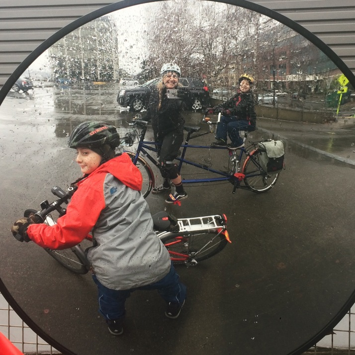 Circle mirror selfie of tandem and 24-inch bike